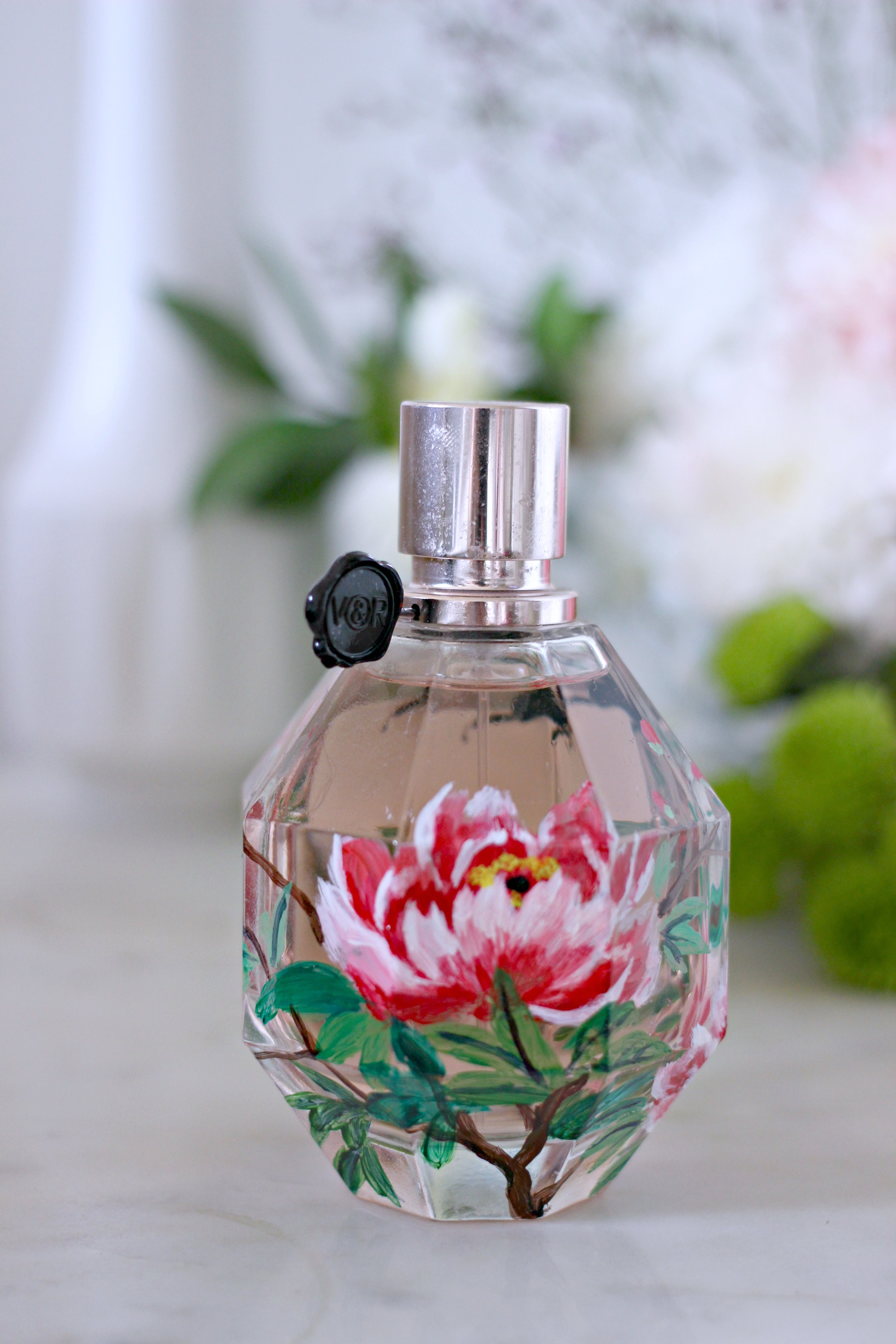Luxury Mothers Day Gift Guide - Fashion Mumblr blog Flowerbomb Selfridges Hand Painted Bottle